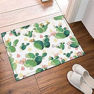 CDHBH Alfombra de baño con patrón de Cactus, diseño de Flores de Cactus, Antideslizante, para Entrada de Suelo al Aire Libre, Interior y Puerta, 60 x 40 cm, Alfombra de baño, Alfombra de baño
