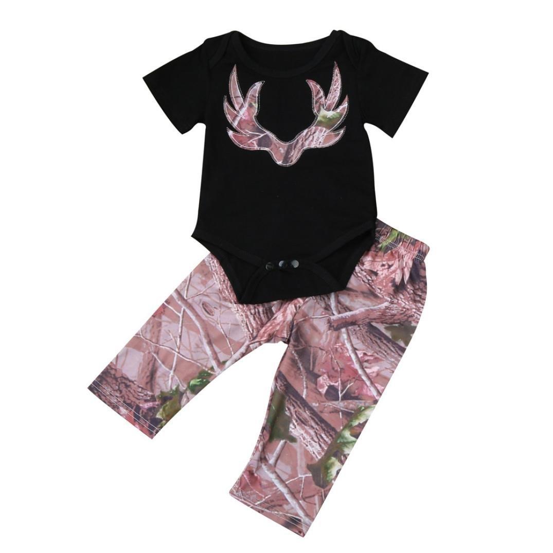 MEIbax Conjuntos de Ropa Niños Recién Nacidos Niñas Cervatillo Imprime Mameluco Enterizo + Pantalones 2pcs Traje Ropa Set: Amazon.es: Ropa y accesorios