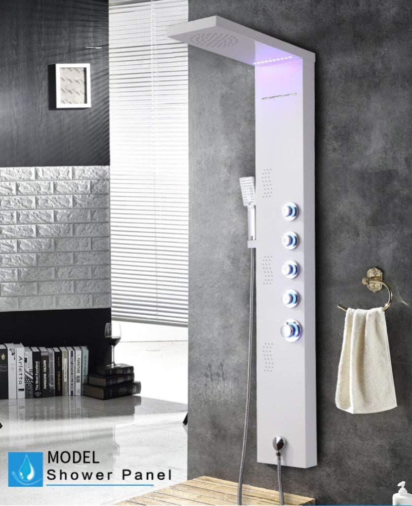 Clearance Price XZST 57 Inch 304 Stainless Steel Shower System Wall Mount Bathroom Multi-Function Shower Tower Waterfall Rainfall Overhead Shower Panel White Paint /…