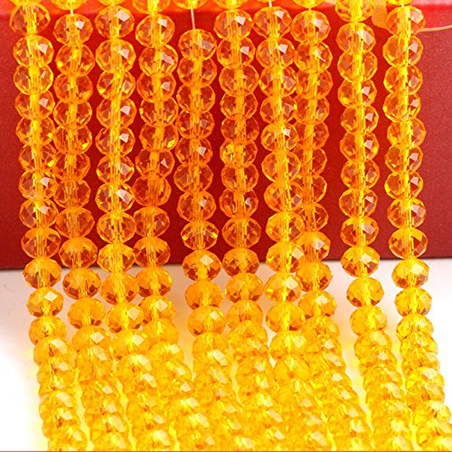 USIX 4/6/8/10mm String Beads Chain for Party Birthday Wedding Table Centerpieces Wishing Tree Garland Christmas Decoration and Window Curtain Decoration(Orange,4mm-700 - Seven Wire Diamond Diamonds Necklace