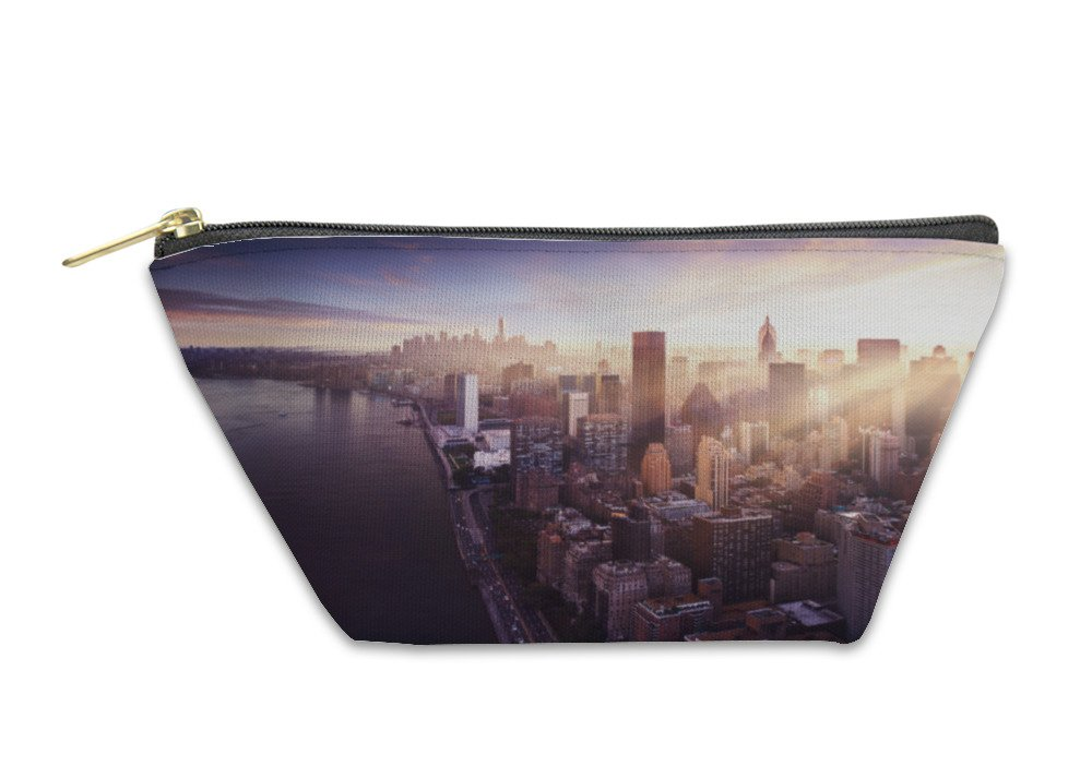 Gear New Accessory Zipper Pouch, New York City Beautiful Colorful Sunset Over Manhattan Fit Sunbeams Between, Small, 5578606GN