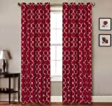 Cheap 2 Piece Set CARTEL Window Panels Embroidered Grommet Top Decorative Curtains, 54″x84″ & 54″x95″ (54″x84″, Burgundy)