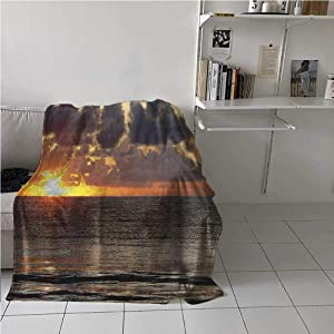 Flannel Blanket Throw Beach Soft Plush Flannel Blanket Throws Dramatic Sunrise in Cancun Cloudscape Skyline Calm Ocean Coastal Picture for Bed/Couch/Sofa/Office/Camping 70x93 Inch