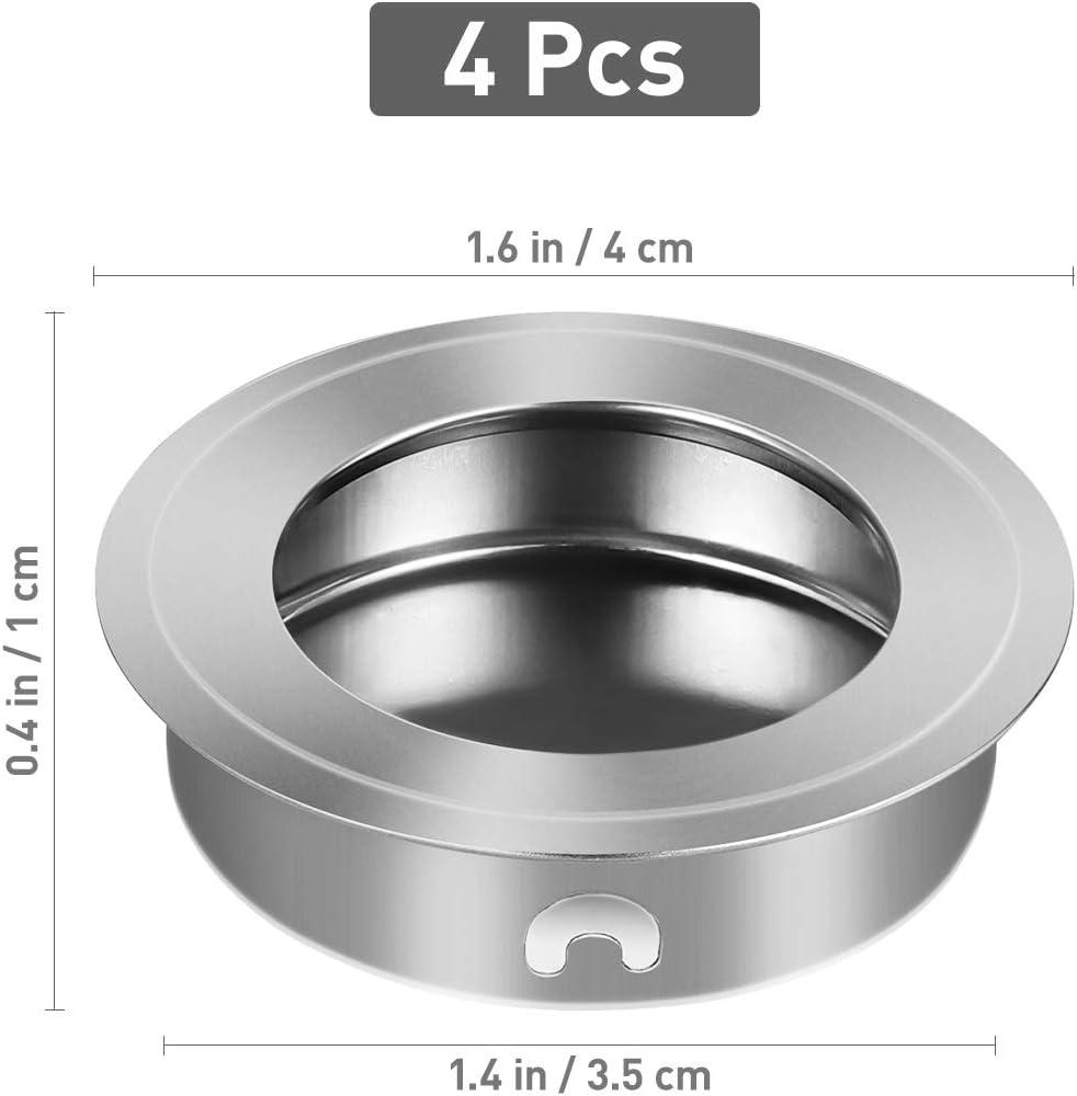 4pcs 35/mm Plat en Acier Inoxydable /à encastrer /à Fil Pull Doigt Insert poign/ée pour Porte coulissante Armoire extrait tiroir Hardware