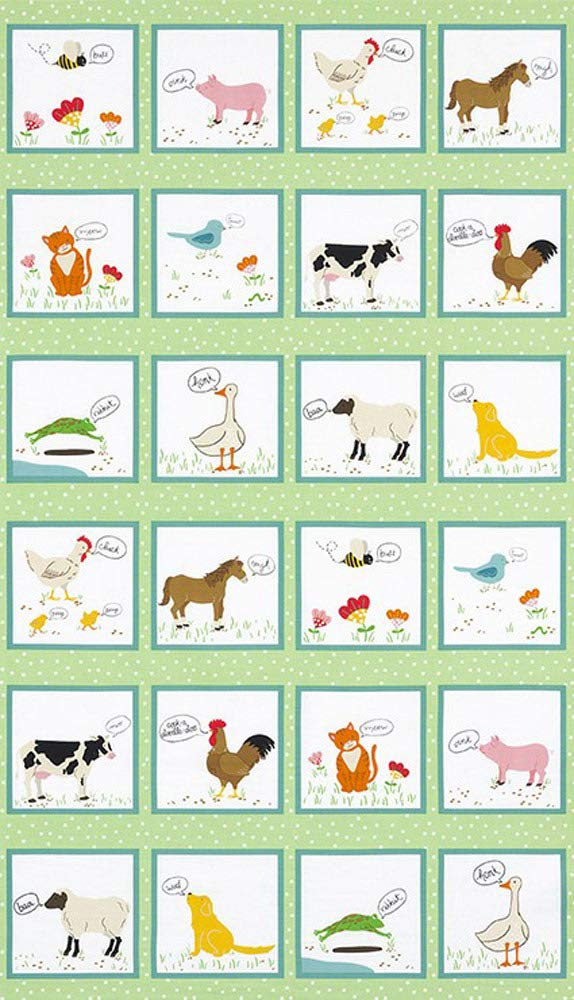 Katherine Lenius What do the Animals Say 16 Fat Quarters 1 Panel Robert Kaufman Fabrics FQ-1414-17
