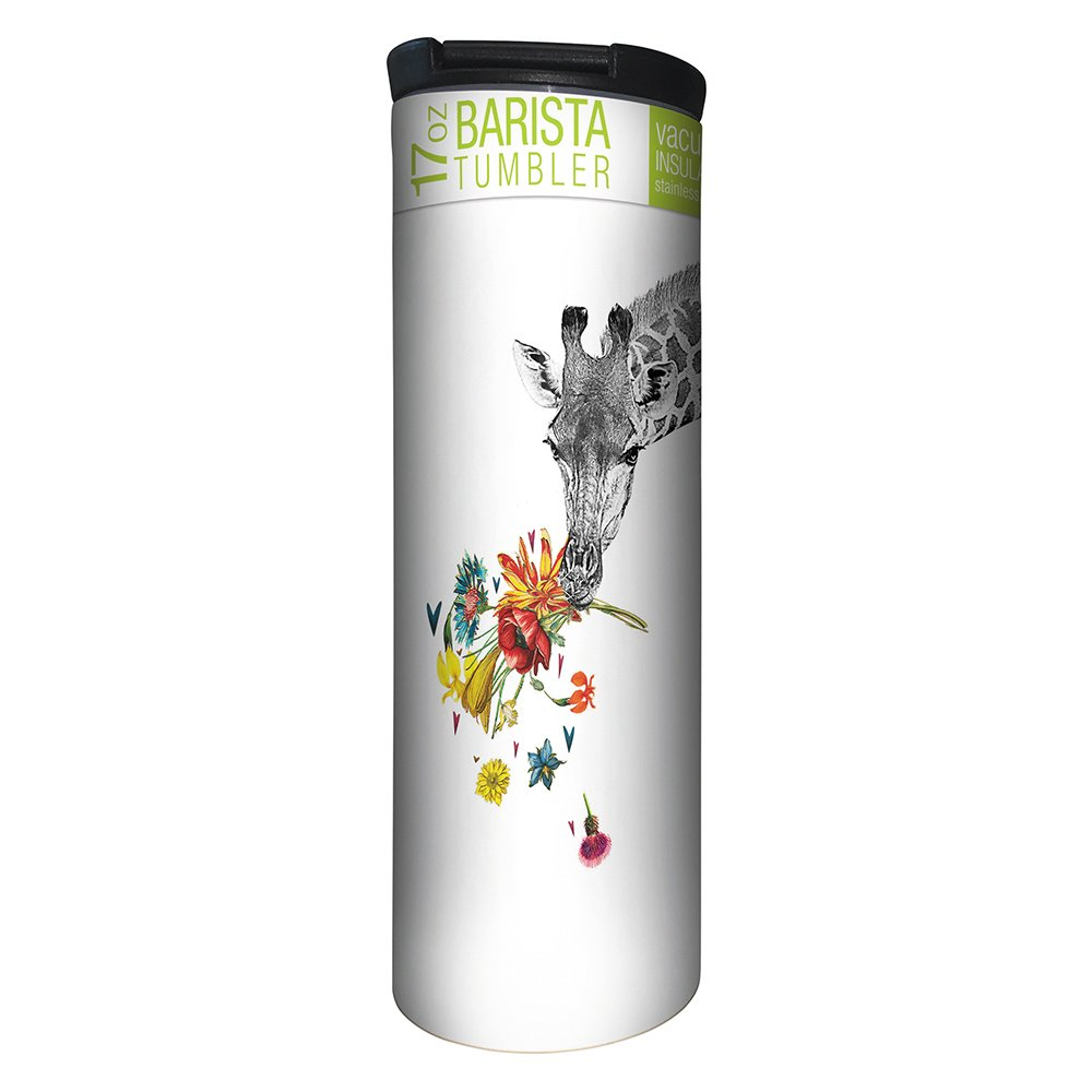 Tree-Free Greetings Checking in Giraffe Vacuum Insulated Travel Coffee Tumbler, 17 Ounce Stainless Steel Mug, Gift for Animal Lovers (BT21865)