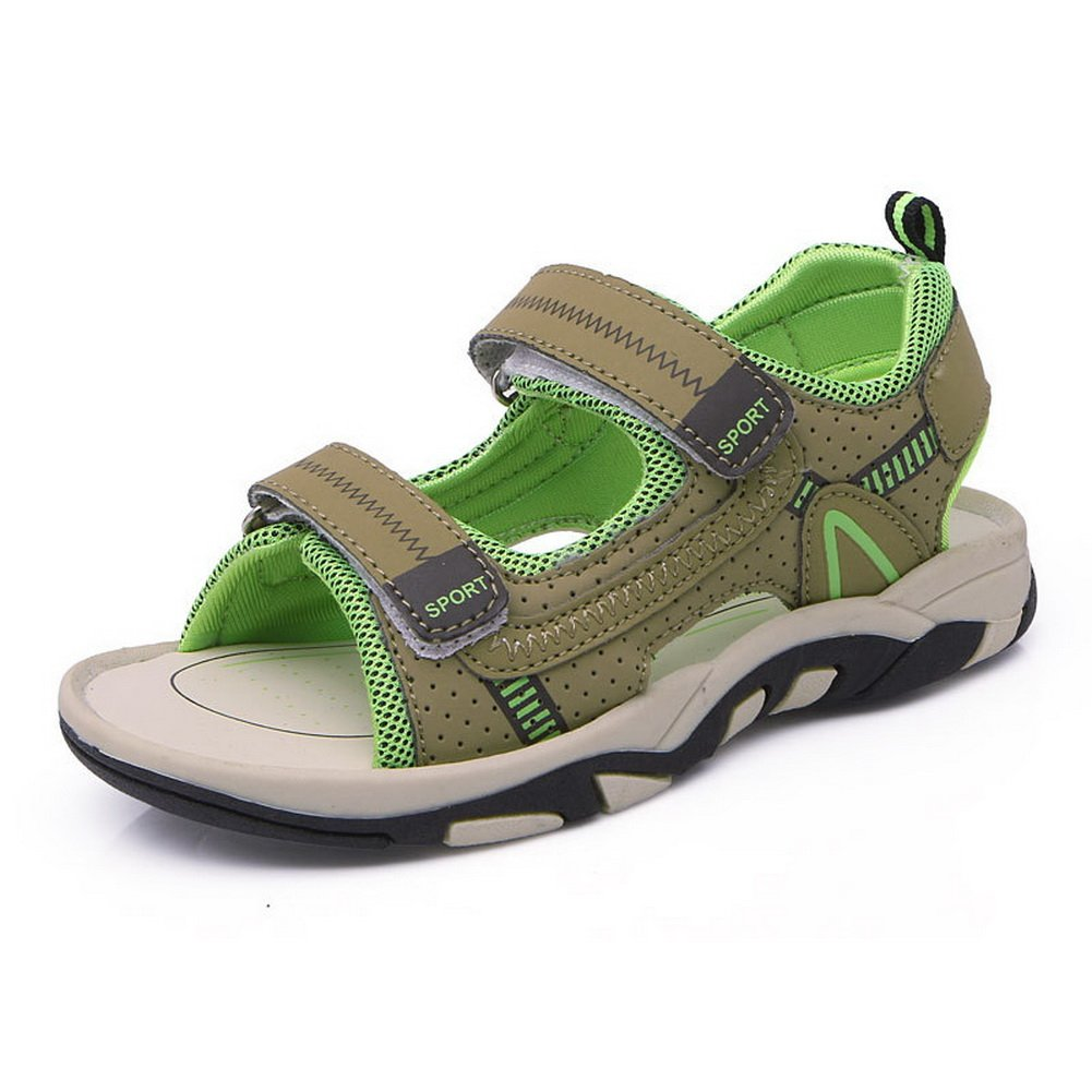 BTDREAM Kids Boy and Girl's Adjustable Strap Athletic Sports Sandals Summer Outdoor Open Toe Beach Shoes Green Size 31