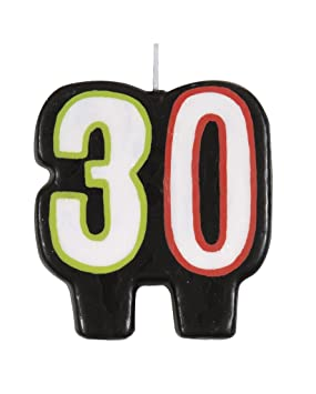 Vela de cumpleaños de 30 años, 30 años kuchenkerze-Negro ...