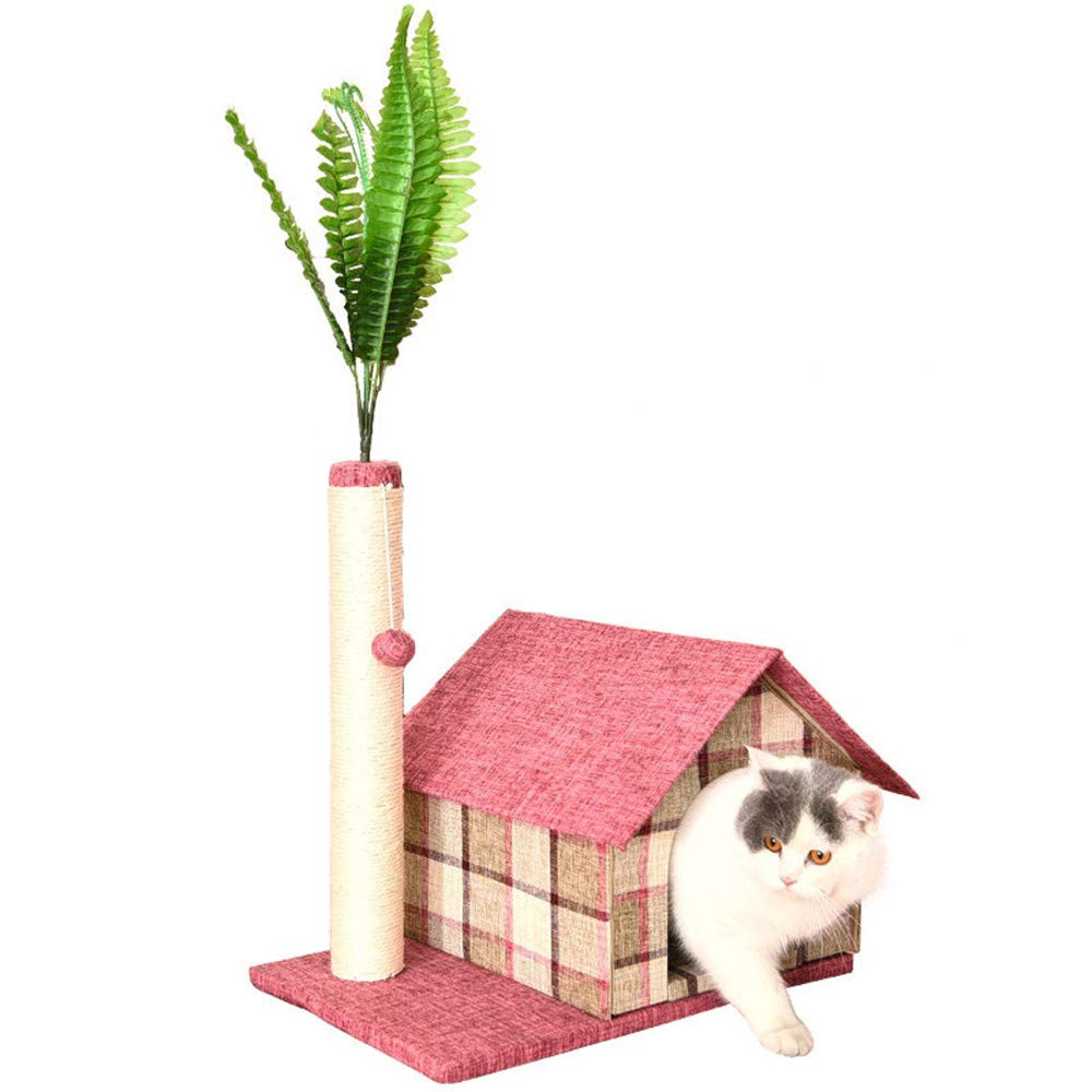 Ledu Home Cat House Climbing Frame Cute Home Wind Washable Cat Bed Cute Plaid Pattern Cat House