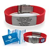 Red Silicone Sport Medical Alert ID Bracelet