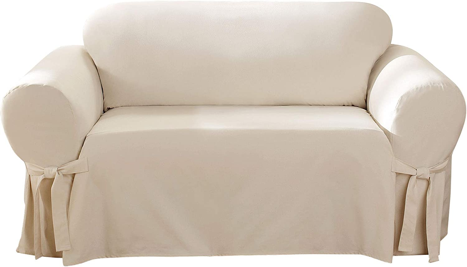 SureFit Home Décor Duck Solid Box Cushion Sofa One Piece Slipcover, Relaxed Fit, 100% Cotton, Machine Washable, Natural Color