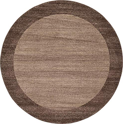 Unique Loom Del Mar Collection Contemporary Transitional Light Brown Round Rug (6' 0 x 6' 0)