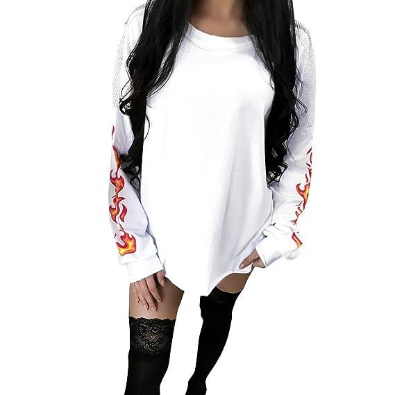 Vovotrade Mujeres Sudaderas Ropa para Sudadera con Estampado de Llamas de Encaje Manga Larga Blusa con Cuello Redondo Moda Basico Sencillo Casual de Otoño ...