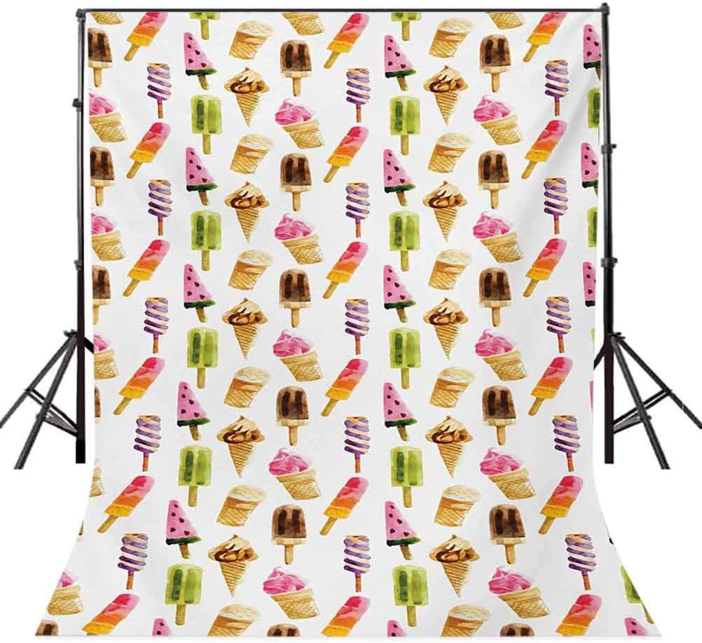 Kids 8x10 FT Backdrop Photographers,Lovely Border Designs with Birds Ladybugs and Summer Flowers Cheering Nature Cartoon Background for Party Home Decor Outdoorsy Theme Vinyl Shoot Props Multicolor