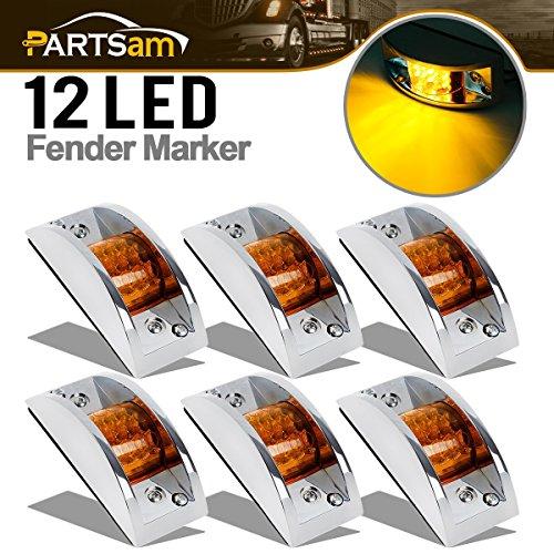 Partsam 6x 4-4/5 Rectangular Chrome Armored Clearance & Side Marker Light 12 LED Amber