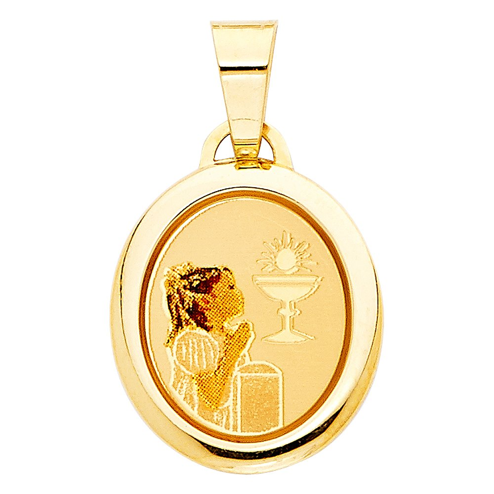 Sonia Jewels 14k Yellow Gold First Communion Picture Medal Girl Pendant 19mm X 15mm