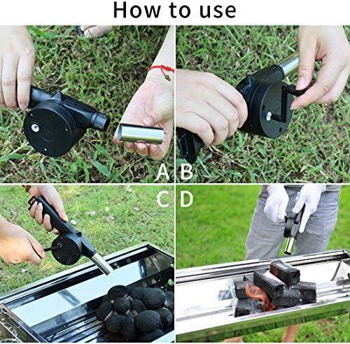 BBQ Ventilateur Blower De Barbecue, Manivelle Fan Air Blower pour Le Charbon Grils de Outdoor Pique-Nique Camping Cuisine à Outil