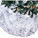 Bermino Organza Fabric DIY Christmas Tree Skirt, Decorative Sheer Christmas Tablecloth for Birthday Party Festival Wedding Decorations, Silver Snowflake 57 x 118 Inch