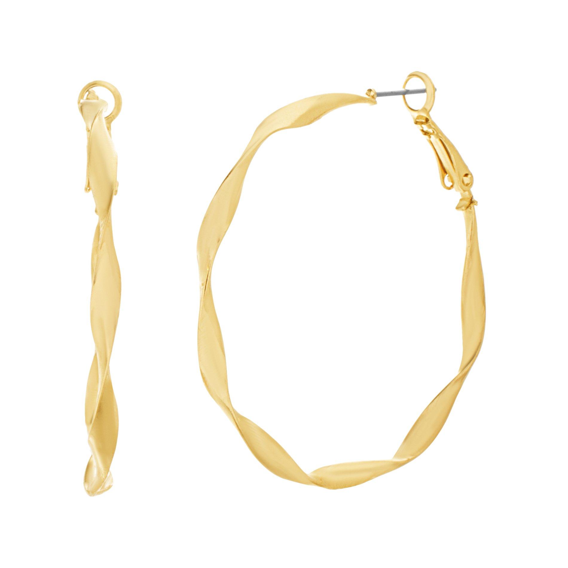 Catherine Malandrino Women's Polished Twisted Yellow Gold-Tone Hoop Earrings (Yellow)