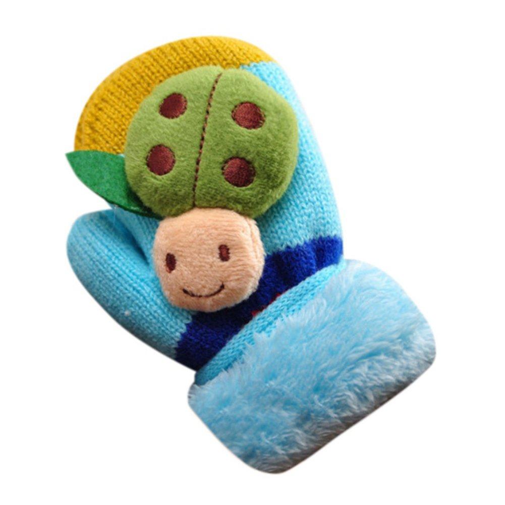 ZHOUBA Cute Cartoon Beatles Winter Thicken Warm Infant Baby Girls Boys Gloves Gift