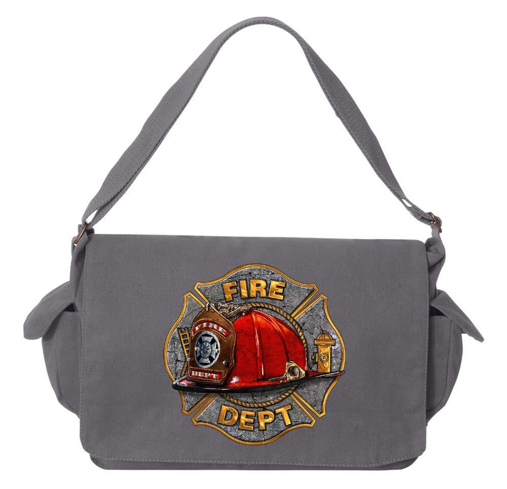 Tenacitee Maltese Fire Helmet Flamingo Raw Edge Canvas Messenger Bag