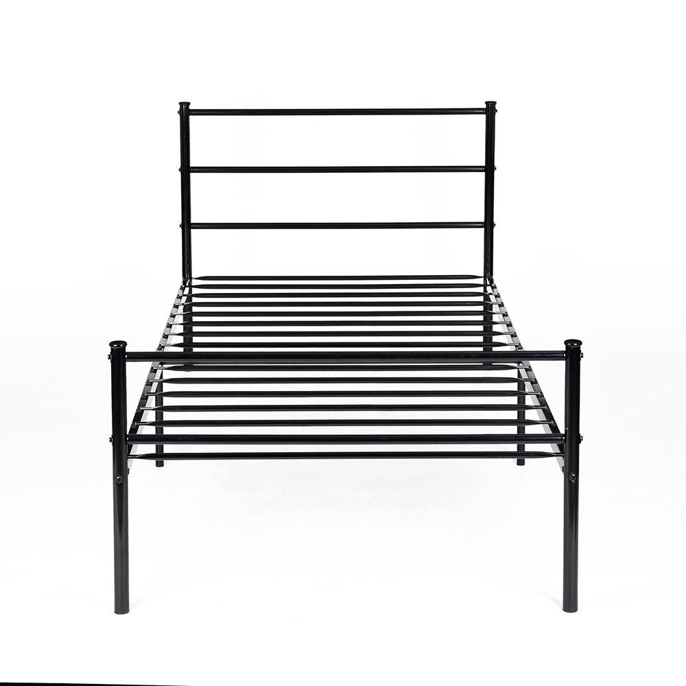 H.J WeDoo Lit en métal design Single 2 places cadre de lit + Sommier Intégré 90x190cm (Lit Single) - Noir