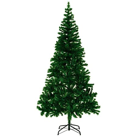 Plastic Christmas Tree.Artificial Christmas Tree Size Choice Quality Plastic Decorations With Stand Large Xmas Premium Flame Resistant High Tip Count Green 1 80m 5ft 10in