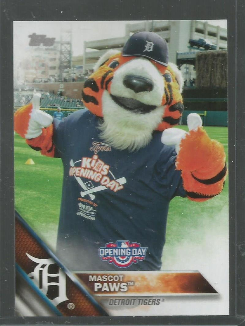 2016 Topps Opening Day Mascots #M-1 Paws Tigers Baseball Card NM-MT