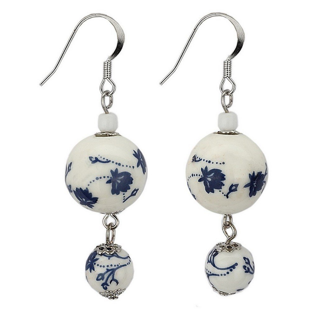Drop Earring Tea Garden Graduated Blue /& White Beads Made With Ceramic /& Glass by JOE COOL