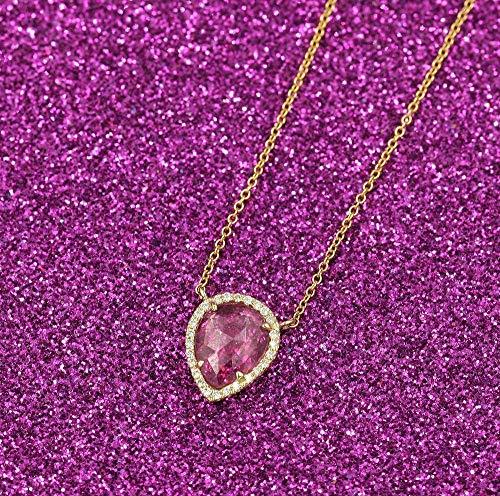 1.75Ct. Pear Shaped Sapphire Diamond Necklace/14k Gold Pink Sapphire Necklace/Diamond Necklace/Diamond Gold Necklace/Sapphire Pendant Necklace