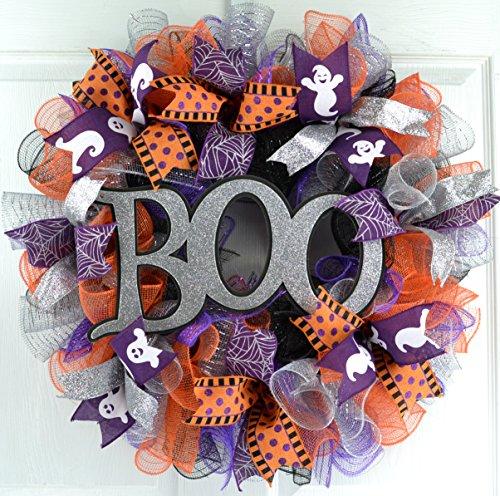 Mesh Halloween Wreath | Purple Boo Mesh Outdoor Front Door Wreath; Silver Orange Black (Door Wreaths Halloween)