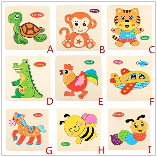 Gbell Wooden Puzzle for Preschool Toddler, Cute Animal Jigsaw Board Great Gift for 1-3 Year Old Baby Girl and Boy Kids (9 Set)