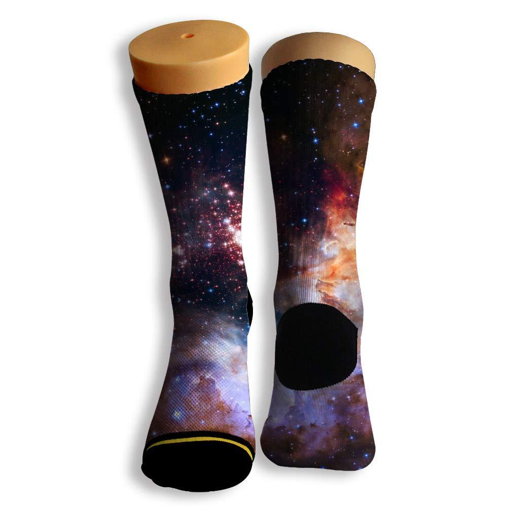 Basketball Soccer Baseball Socks by Potooy Colorful Galaxy Doodle 3D Print Cushion Athletic Crew Socks for Men Women