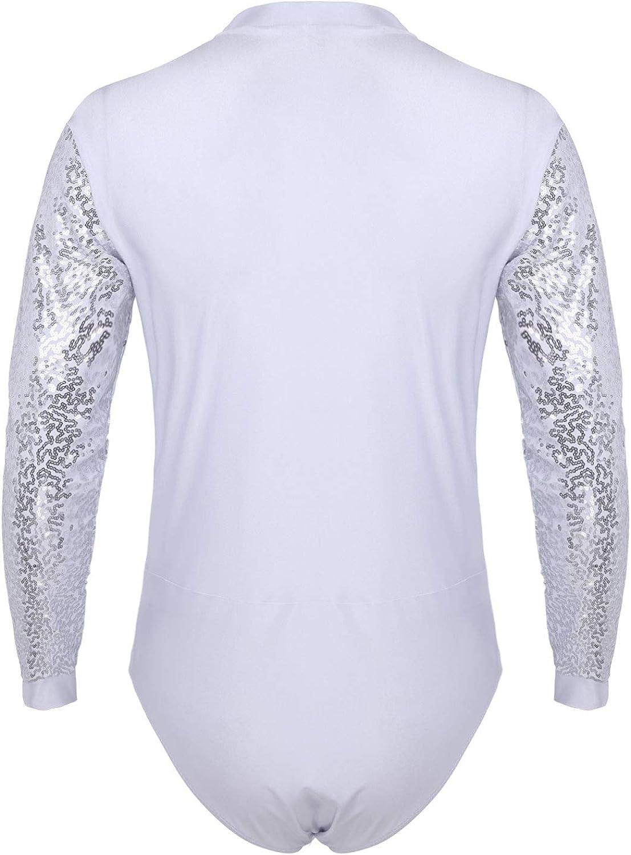 YiZYiF Mens Sparkle Sequins V Neck Dance Shirt Leotard Bodysuit Latin Ballet Dance Shirt Costume