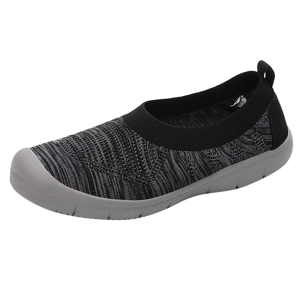 Dermanony Women's Athletic Walking Shoes Casual Mesh-Comfortable Work Sneakers Slip on Flexible Socks Shoes Black by Dermanony _Shoes