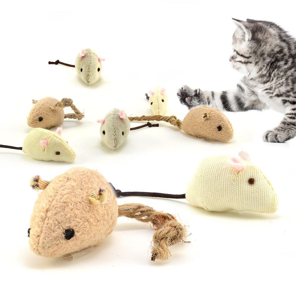 3 pièce souris de jeu pour les chats, jouets pour chats, Ensemble de différents matériaux naturels remplis de cataire 4yourpet