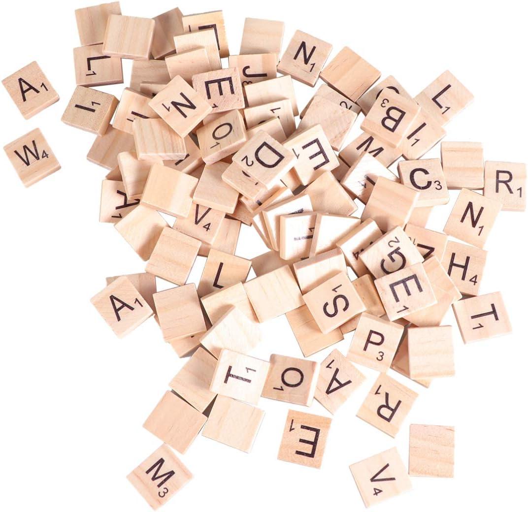 Healifty 100 Piezas de Piezas de Letras de Scrabble de Madera Artesanales Letras Del Alfabeto de Scrabble para Adornos de Scrapbooking Diy Craft Decor: Amazon.es: Hogar