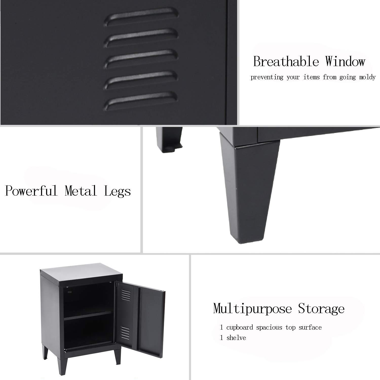 Free Standing Storage Cupboard,Side Storage Organizer Cabinet,2 tier Storage Shelves for Home Office Study Bedroom Living room WarmCentre MDF Top Metal Floor Cabinet