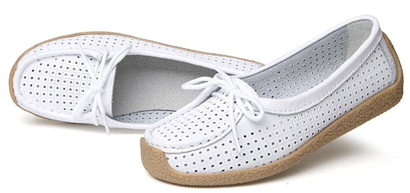 ACE SHOCK Loafer Flats Shoes Women Casual Breathable Holes Leather Work Pumps 4 Colors Size 5.5-8.5