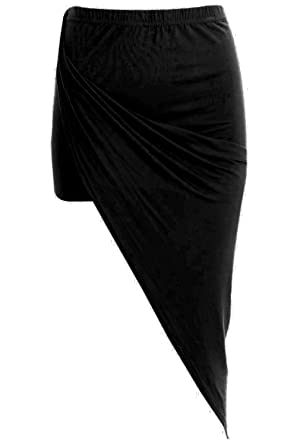 03585f1b04 Star Fashion Womens Ladies Ruched Wrapover Side Split Asymmetrical Midi  Skirt: Amazon.co.uk: Clothing