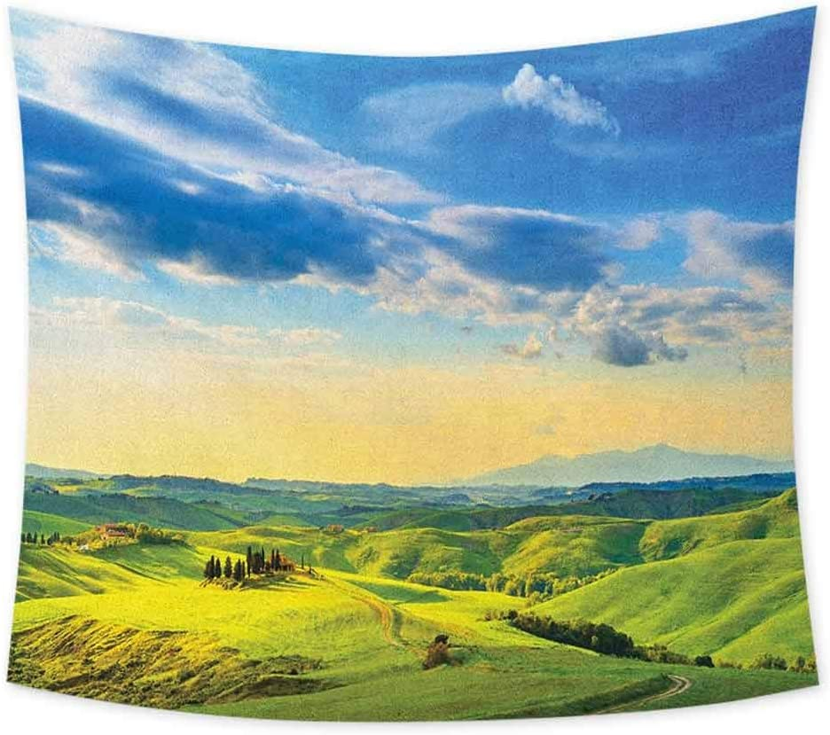 jecycleus Tuscany Wall Tapestry for Bedroom Sunset in Tuscany Rural Farmand Cypresses Trees Sunlight Volterra Italy Room Decor for Teen Girls W60 x L40 Inch Sky Blue Pale Green