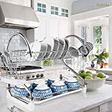 2-Tier Dish Rack and DrainBoard, 20'' x15''x10'' Kitchen Chrome Cup Dish Drying Rack Tray Cultery Dish Drainer