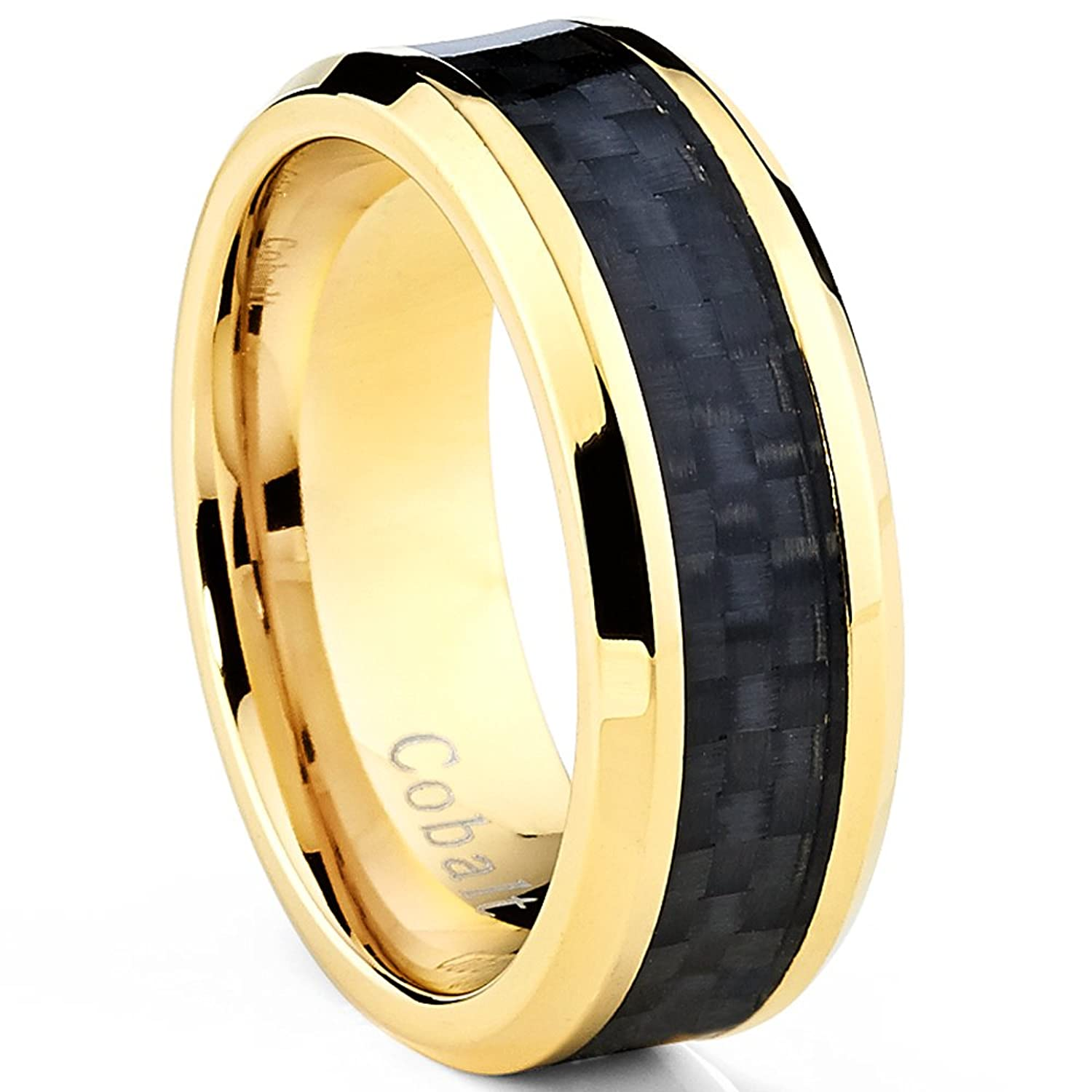 Goldtone Plated Mens Cobalt Wedding Band Ring with Black Carbon