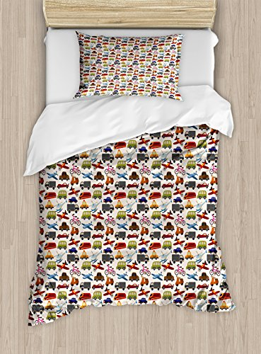 Bike Taxi - Lunarable Boy's Room Duvet Cover Set Twin Size, Planes Bikes Cars Trucks Train Taxi Motorcycle Bus Crane Engine Cartoon Art, Decorative 2 Piece Bedding Set with 1 Pillow Sham, Multicolor