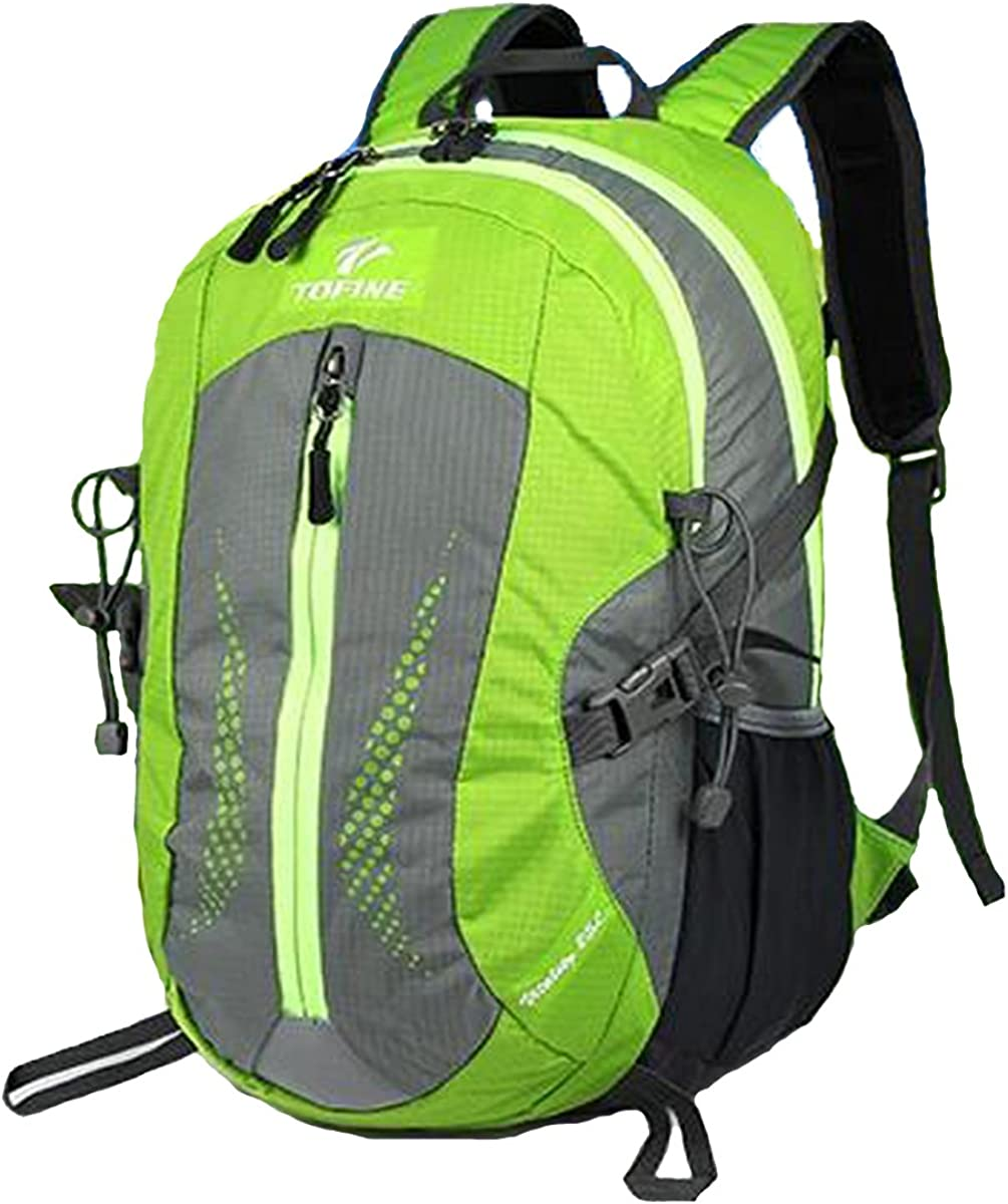 TOFINE Heavy Duty Hidden Pocket Outdoor Water Proof Travel Backpack Green 25L