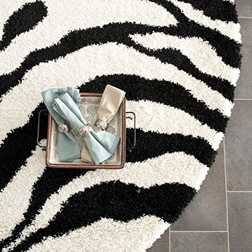 Safavieh Zebra Shag Collection SG452-1290 Ivory and Black Round Area Rug (5' Diameter) - Round Zebra Print Rug