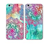 iPhone 6Plus/6s Plus Couple Case-TTOTT 2x New Floral Mandala Green-Pink Art Slim Soft TPU Bumper Anti-Scratch Hard Back PC Best Friend Couple Matching Cover Cases for iPhone6Plus/6s Plus 5.5''