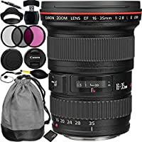 Canon EF 16-35mm f/2.8L II USM Lens Bundle with Manufacturer Accessories & Accessory Kit for EOS 7D Mark II, 7D, 80D, 70D, 60D, 50D, 40D, 30D, 20D, Rebel T6s, T6i, T5i, T4i, SL1, T3i, T6, T5, T3, T2i