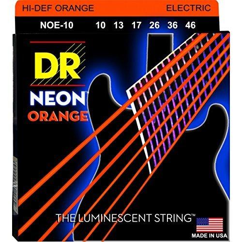 DR Strings NOE-10 Coated Nickel Hi-Def Orange Electric Guitar Strings, Medium