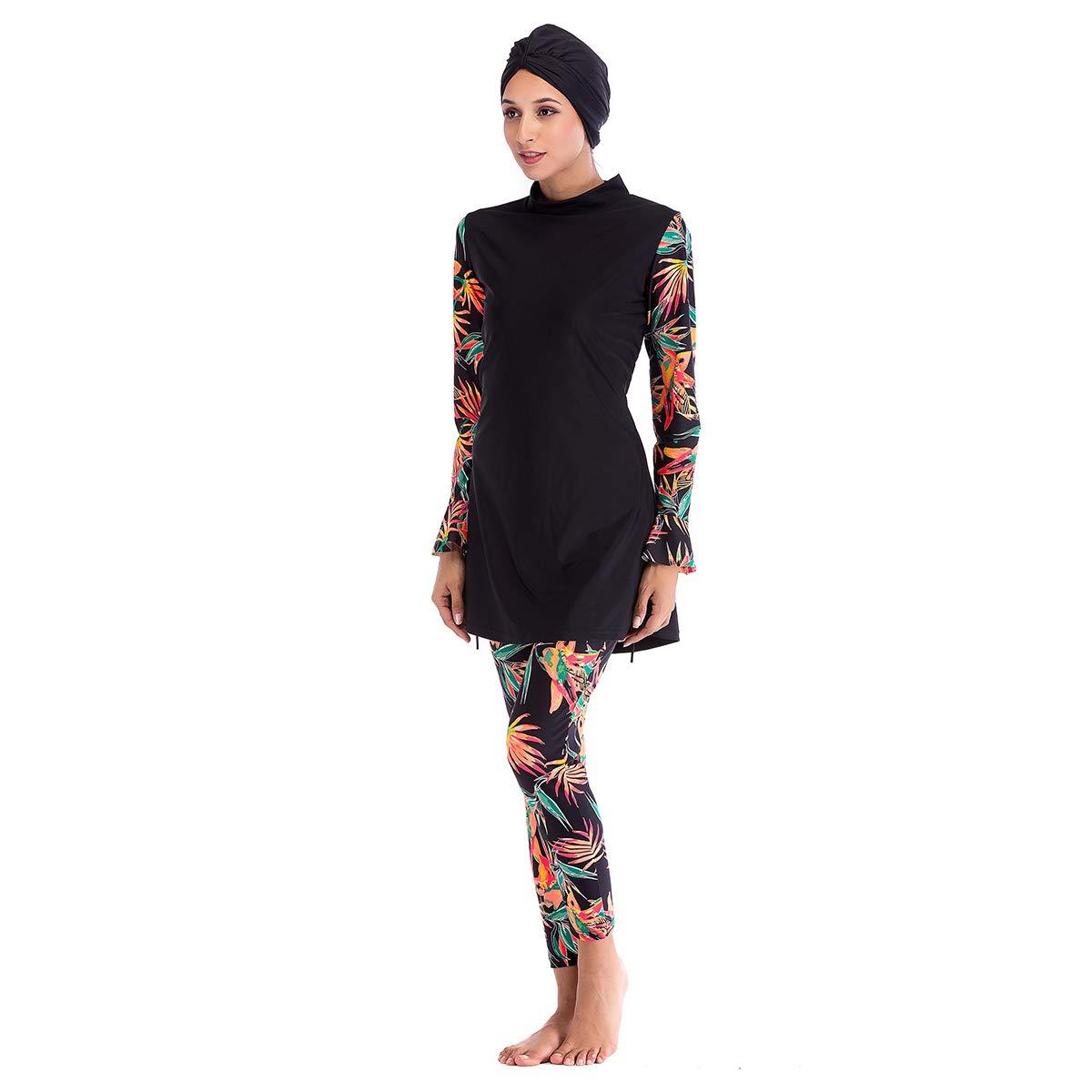 Seafanny Womens Modest Muslim Burkini Print 3 Pieces Swimwear Beach Swimsuits